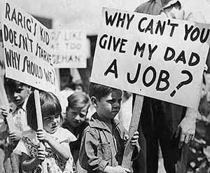 kids with signs The Great Depression